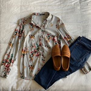 Striped floral button up